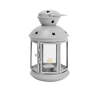 Nicola Spring Candle Lanterns Tealight Holders Vintage Metal Hanging Indoor Outdoor - 20cm - Grey