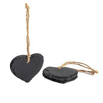 Liten hängande dekorativt hjärta Skiffer Tag - Box av 3