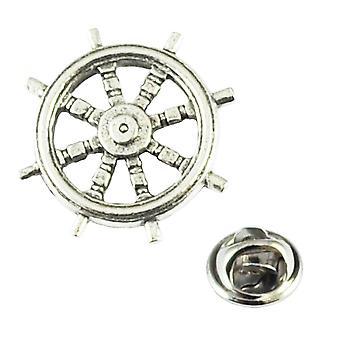 Ties Planet Ship Wheel Pewter Lapel Pin Badge