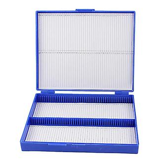 Royal Blue Plastic Rectangle Hold 100 Micro Slide Microscope Box