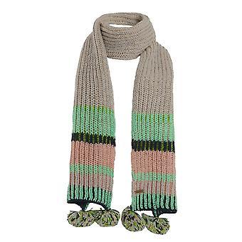 Deedee Striped Rib Knit Scarf Pearl Grey