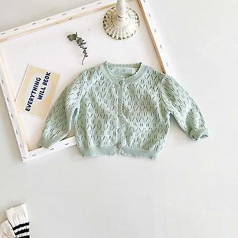 Princess Baby Girl Knitted Sweater Long Sleeve Cotton's Cardigan Nouveau-né