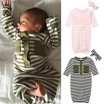 Taapero Vastasyntynyt vauvan sleepwear raidallinen swaddle wrap peitto makuupussi