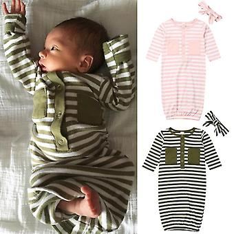 Toddler Newborn Baby Sleepwear Striped Swaddle Wrap Blanket Sleeping Bag