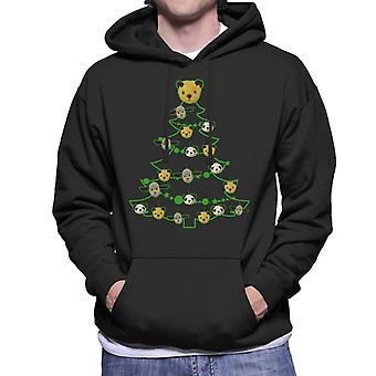 Sooty Christmas Tree Green Silhouette Men's Sweatshirt à capuchon