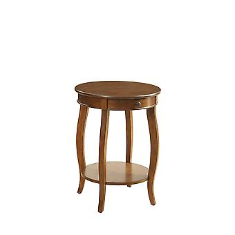 Round Walnut Wood End Table with Storage and Shelf