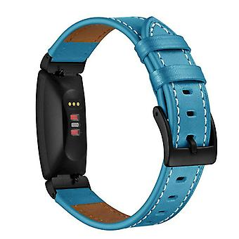 For Fitbit Inspire / Inspire HR Genuine Leather Band Replacement Wristband Strap[Teal]