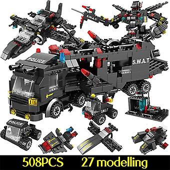 715pcs City Police Station Car, Bouwstenen voor City Swat Team Truck House