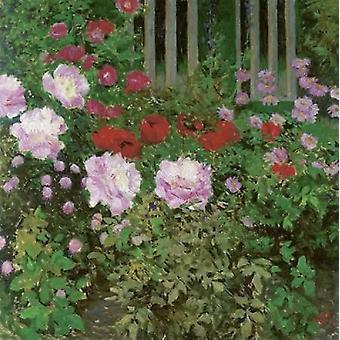 Blumen und Garten Zaun Poster Print von Koloman Moser