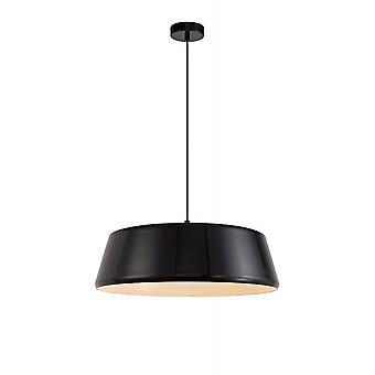 Foster Single Large Pendant, 1 Light Adjustable E27, Gloss Black/gloss White