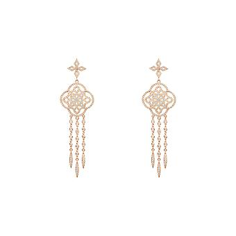 Pink Celtic Knot Dream Catcher CZ Bridal Statement Jewellery Rose Gold Earrings