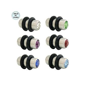 Pair of jeweled surgical steel ear plugs 4 gauge - 6 colors available