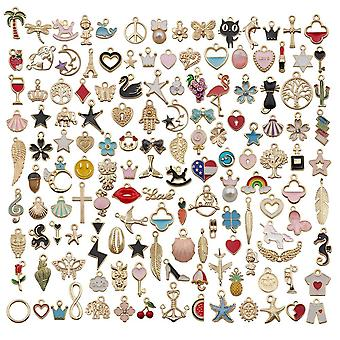110pcs Assorted Plated Animal, Plant, Fruit, Moon Star Random Charms Pendants