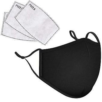 3 máscaras de unids + 20pcs filtros de algodón activado máscara de carbón lavable y reutilizable