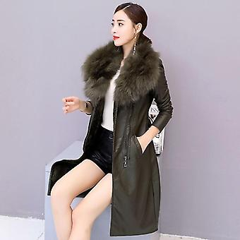 New Plus Velvet Cald Slim Big Fur Guler Lung Piele Haina De sex feminin Outerwear