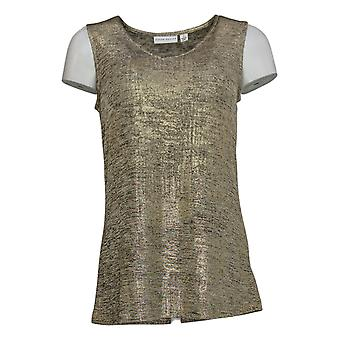 Susan Graver Women's Top Foil Print Cardigan And Tank Set Gold A343099