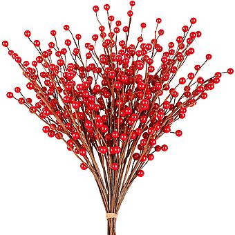 Whaline Christmas Red Berry Twig Stem, 12 Pack Artificial Burgundy Berry