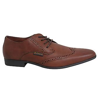 Ben Sherman Atiem Lace Up Dark Tan Synthetic Mens Brogue Shoes BEN3154 076 B31C