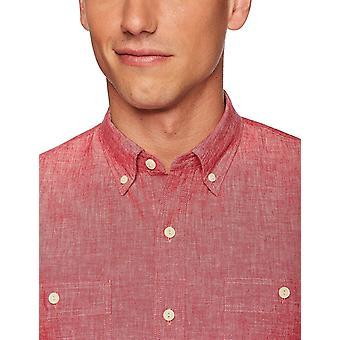 Goodthreads Men's Slim-Fit Chambray Shirt met lange mouwen, rood, X-Large