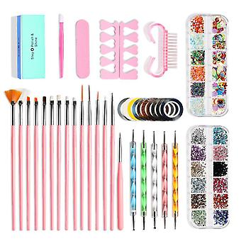 Nail Art Decoration Sets 10 Pack,nail Brush And Manicure Tools