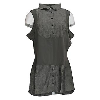 Kathleen Kirkwood Women's Top DictracEase Chambray Shirttail Black A311148
