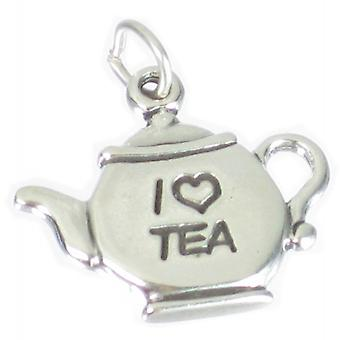 Teapot Sterling Silver Charm .925 X 1 I Heart Love Tea Pot Charms - 2027