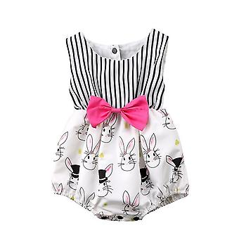 Beautiful Baby Girls Striped Sleeveless Easter Outfit Romper