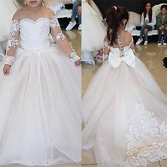 Flower Dress For Wedding Tulle Long Sleeve Ball Gown Lace Appliques Little