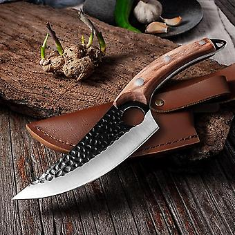 Steel Kitchen Boning Knife Fishing Meat Cleaver Outdoor Cooking Cutter Butcher