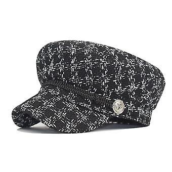 الخريف والشتاء الرجعية الترقيع القبعات المرأة & apos;ق الإنجليزية الموضة الصوف التظليل
