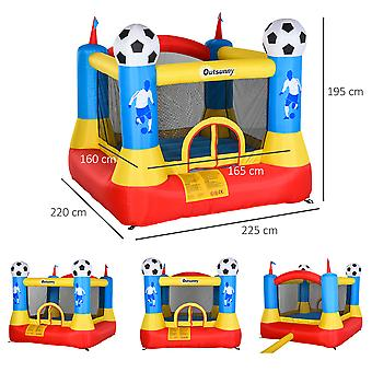 Outsunny Kids Football Bouncy Castle House Inflatable Trampoline w/ Inflator Outdoor Play  Garden Activity Fun 3-12 Years 2.25 x 2.2 x 1.95m