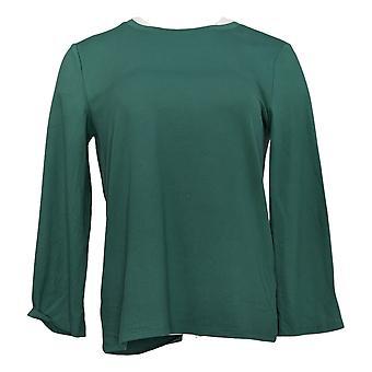 Alle kvinner's pyjamas topp XXS børstet jersey bell ermet grønn A386829