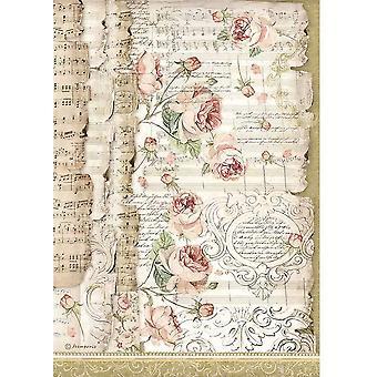 ستامبريا رايس ورقة A4 الورود والموسيقى