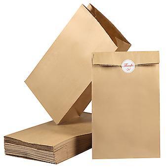 100 Pack Block Bund Brun Kraft papirposer 27 x 15 x 9cm frokost bageri tasker