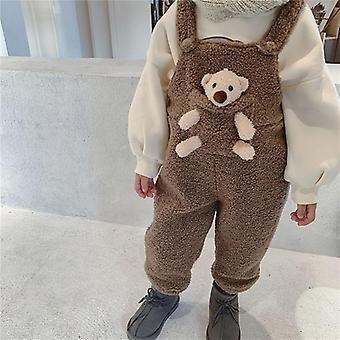 Téli baba plusz gyapjú meleg általános, kisgyermek gyerekek aranyos zseb medve nadrág