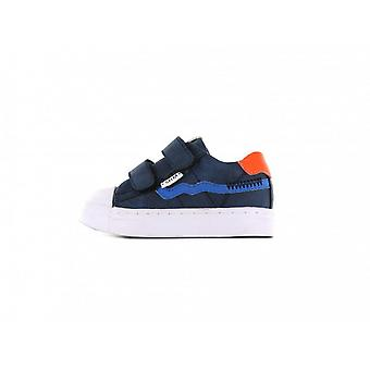 SHOESME Leather Velcro Trainer Style Shoe In Blue Sh21s009