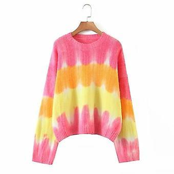 O-neck Loose Tie-dye Printed Long Sleeve Knitwear Sweater