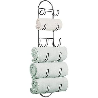 mDesign Wall Mount Metal Wire Towel Storage Shelf Organizer Rack Holder with Six Compartments