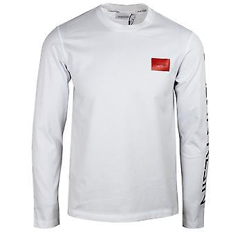 Calvin klein men's bright white text reversed logo t-shirt
