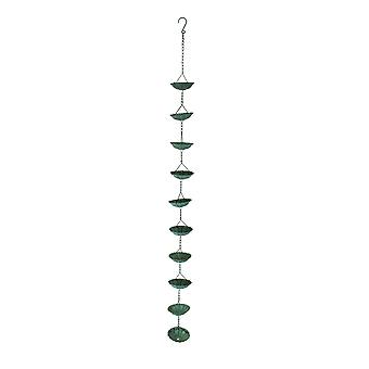 Weathered Verdigris Finish Flower Design Metal Rain Chain 56 Inches Long