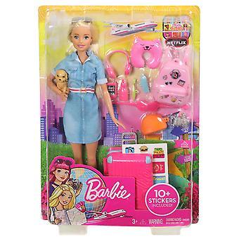 Poupée Barbie et ensemble de voyage avec chiot, bagages et plus de 10 accessoires, multicolores