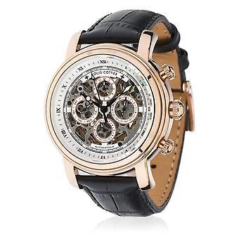 Louis Cottier - Skeleton Auto-White Dial Watch - PVD Gold Rose 42 mm Steel Case - Black Leather Bracelet - Men's