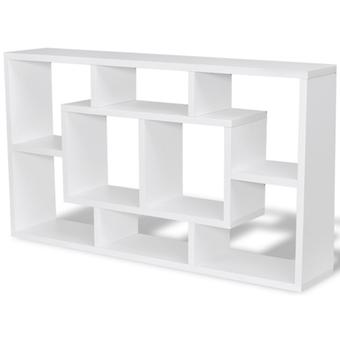 Floating Wall Display Shelf, Hanging Shelf Storage with 8 Compartments White