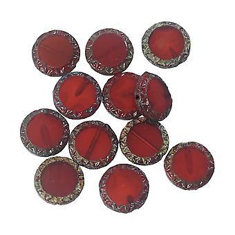 Tjeckiska glaspärlor, Maya Sun Coin 11,5 mm, Röd Opaline, Picasso Finish, 1 Strand, av Raven's Journey