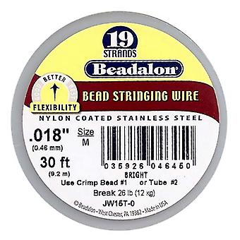 Beadalon Wire Standard Bright 19 Strand .018 Tum / 30Ft