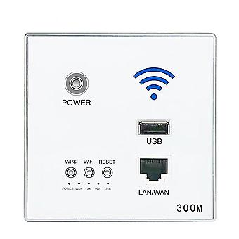 300M New In Wall AP Access Point Wireless WiFi router USB charging Socket Wall Mount Router(white)