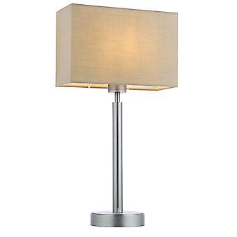 Lámpara de mesa placa de níquel mate, tela Taupe sombra rectangular con toma usb