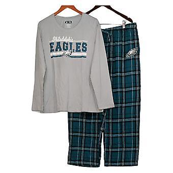 NFL Women's Printed Long Sleeves Top /Flannel Pants PJ Set Gray A387687