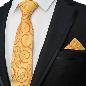 Orange swirl pattern designer tie & pocket square set