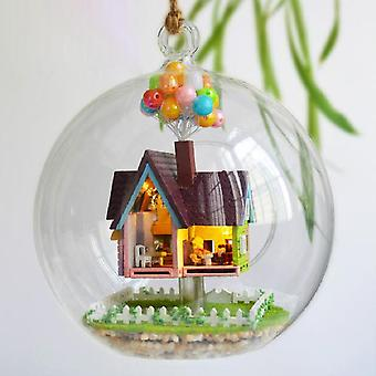 Cutebee diy house wooden doll houses miniature dollhouse furniture kit with led toys for children christmas gift  mini house